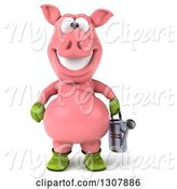 Swine Clipart of 3d Happy Gardener Pig Holding a Watering Can by Julos