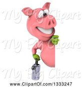 Swine Clipart of 3d Happy Gardener Pig Holding a Watering Can Looking Around a Sign by Julos