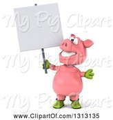 Swine Clipart of 3d Happy Gardener Pig Holding and Looking up at a Blank Sign by Julos