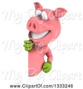 Swine Clipart of 3d Happy Gardener Pig Looking Around a Sign by Julos