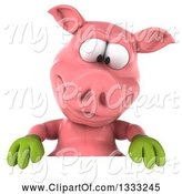 Swine Clipart of 3d Happy Gardener Pig Looking down over a Sign by Julos