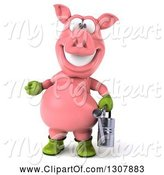 Swine Clipart of 3d Happy Gardener Pig Presenting and Holding a Watering Can by Julos