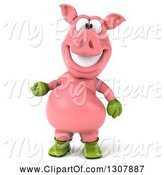 Swine Clipart of 3d Happy Gardener Pig Presenting by Julos