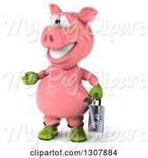 Swine Clipart of 3d Happy Gardener Pig Presenting to the Left and Holding a Watering Can by Julos