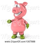 Swine Clipart of 3d Happy Gardener Pig Presenting to the Left by Julos
