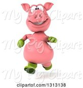 Swine Clipart of 3d Happy Gardener Pig Running by Julos