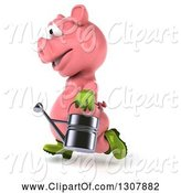 Swine Clipart of 3d Happy Gardener Pig Running to the Left and Holding a Watering Can by Julos