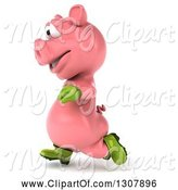 Swine Clipart of 3d Happy Gardener Pig Running to the Left by Julos