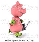 Swine Clipart of 3d Happy Gardener Pig Running to the Right and Holding a Watering Can by Julos