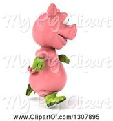 Swine Clipart of 3d Happy Gardener Pig Running to the Right by Julos