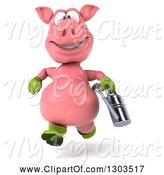 Swine Clipart of 3d Happy Gardener Pig Running with a Watering Can by Julos