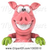 Swine Clipart of 3d Happy Gardener Pig Smiling over a Sign by Julos