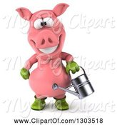 Swine Clipart of 3d Happy Gardener Pig Using a Watering Can by Julos