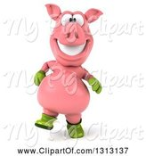 Swine Clipart of 3d Happy Gardener Pig Walking by Julos