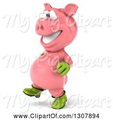 Swine Clipart of 3d Happy Gardener Pig Walking to the Left by Julos