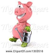 Swine Clipart of 3d Happy Gardener Pig Walking to the Left with a Watering Can by Julos