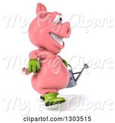 Swine Clipart of 3d Happy Gardener Pig Walking to the Right with a Watering Can by Julos