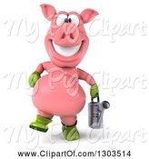 Swine Clipart of 3d Happy Gardener Pig Walking with a Watering Can by Julos