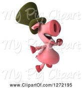 Swine Clipart of 3d Happy Irish Pig Facing Right and Jumping by Julos