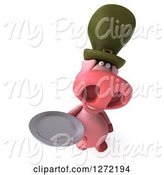 Swine Clipart of 3d Happy Irish Pig Holding up a Plate by Julos