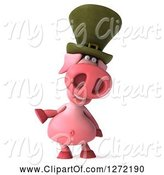 Swine Clipart of 3d Happy Irish Pig Presenting to the Left by Julos