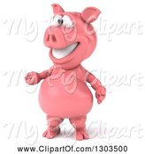 Swine Clipart of 3d Happy Pig Standing Upright and Presenting by Julos