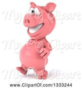 Swine Clipart of 3d Happy Pig Walking Slightly to the Left by Julos
