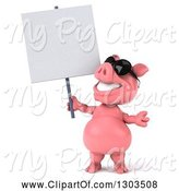 Swine Clipart of 3d Happy Pig Wearing Sunglasses and Standing Upright, and Holding up a Blank Sign by Julos