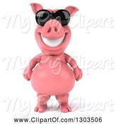 Swine Clipart of 3d Happy Pig Wearing Sunglasses and Standing Upright by Julos