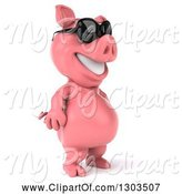 Swine Clipart of 3d Happy Pig Wearing Sunglasses and Standing Upright, Facing Right by Julos