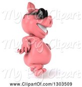 Swine Clipart of 3d Happy Pig Wearing Sunglasses and Walking to the Right by Julos