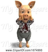 Swine Clipart of 3d Hollering Pig in Clothes by Ralf61