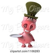 Swine Clipart of 3d Irish Pookie Pig Wearing a Hat and Holidng a Plate 1 by Julos