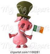 Swine Clipart of 3d Irish Pookie Pig Wearing a Hat and Holidng an Ireland Flag 1 by Julos