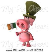 Swine Clipart of 3d Irish Pookie Pig Wearing a Hat and Holidng an Ireland Flag 2 by Julos