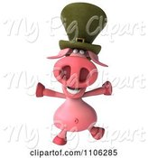 Swine Clipart of 3d Irish Pookie Pig Wearing a Hat and Jumping by Julos
