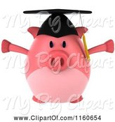 Swine Clipart of 3d Jumping Graduation Pig Wearing a Cap and Tassel by Julos