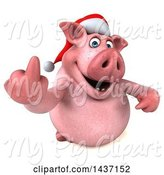 Swine Clipart of 3d Naughty Chubby Christmas Pig Holding up a Middle Finger, on a White Background by Julos