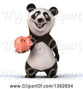 Swine Clipart of 3d Panda Holding a Piggy Bank, on a White Background by Julos