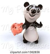 Swine Clipart of 3d Panda Holding up a Thumb and a Piggy Bank, on a White Background by Julos