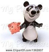 Swine Clipart of 3d Panda Holding up a Thumb down and a Piggy Bank, on a White Background by Julos