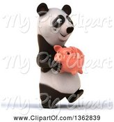 Swine Clipart of 3d Panda Walking and Holding a Piggy Bank, on a White Background by Julos