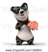 Swine Clipart of 3d Panda Wearing Sunglasses, Holding and Pointing to a Piggy Bank, on a White Background by Julos