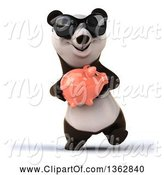 Swine Clipart of 3d Panda Wearing Sunglasses, Walking and Holding a Piggy Bank, on a White Background by Julos