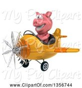 Swine Clipart of 3d Pig Aviator Pilot Flying a Yellow Airplane, on a White Background by Julos