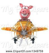 Swine Clipart of 3d Pig Aviator Pilot Flying a Yellow and Orange Airplane by Julos