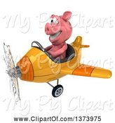 Swine Clipart of 3d Pig Aviator Pilot Flying an Airplane, on a White Background by Julos
