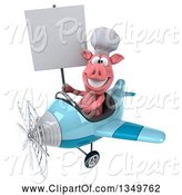 Swine Clipart of 3d Pig Aviator Pilot Holding a Blank Sign and Flying a Blue Airplane to the Left by Julos