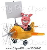 Swine Clipart of 3d Pig Aviator Pilot Holding a Blank Sign and Flying a Yellow Airplane, on a White Background by Julos