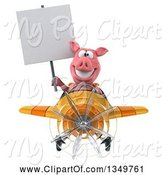 Swine Clipart of 3d Pig Aviator Pilot Holding a Blank Sign and Flying a Yellow and Orange Airplane by Julos